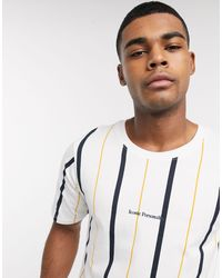 Pull&Bear T-shirt With Vertical Stripe - White