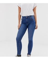 Bershka – e Skinny-Jeans mit superhohem Bund - Blau