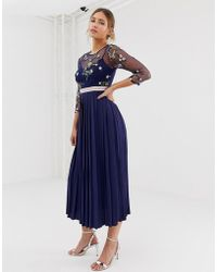 Little Mistress Embroidered Top Midi Dress In Navy - Blue