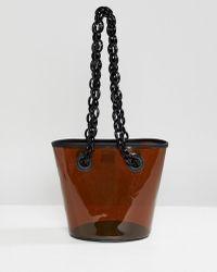 ASOS Plastic Bucket Bag With Contrast Chain Handle