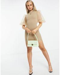 AX Paris - Платье Мини Цвета Мокко С Рукавами Из Органзы -коричневый Цвет - Lyst