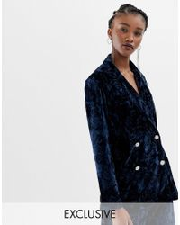 Reclaimed (vintage) - Inspired Tux Jacket In Velvet With Vintage Button Detail - Lyst