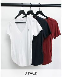 Abercrombie & Fitch 3-pack Short-sleeved Icon V- Neck Tee - White
