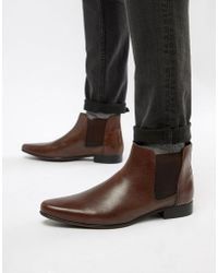 ASOS - Asos Chelsea Boots In Brown Leather With Back Pull - Lyst