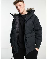 American Eagle Expedition Bomber Jacket Insulated Faux Fur Trim Hood - Black