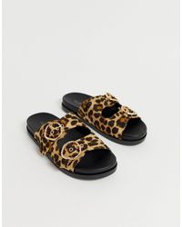Miss Selfridge Buckle Detail Sliders - Brown