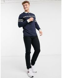 ASOS Co-ord Long Sleeve Polo Shirt With Zip Neck And Taping - Blue