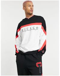 ASOS Co-ord Oversized Sweatshirt With Chicago Print & Retro Colour-block With Vintage Wash - Black