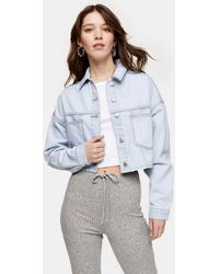 TOPSHOP Cropped Recycled Cotton Blend Denim Jacket - Blue