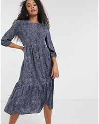 New Look Tiered Smock Midaxi Dress - Blue