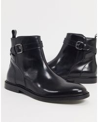 Reiss Cambridge Ankle Boots Black Leather