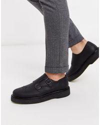SELECTED Chunky Leather Monk Shoe - Black