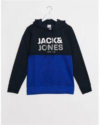 Jack & Jones Core - Hoodie à enfiler effet coupé-cousu - Bleu