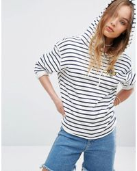 RVCA - Relaxed Hoodie With Raw Hems In Stripe - Lyst