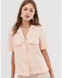 Mango Pocket Front Shirt In Pink - Orange