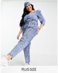 Simply Be Mono largo azul con cintura anudada