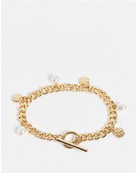 TOPSHOP Pearl Charm T Bar Bracelet - Metallic