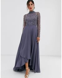 ASOS Maxi Dress With Linear Embellished Bodice And Wrap Skirt - Blue