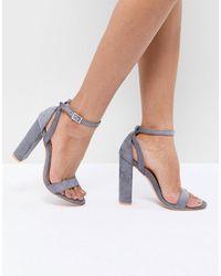 Lost Ink Blaise Block Heel Sandals - Grey