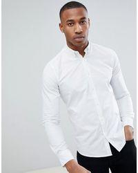 Only & Sons Poplin Overhemd Met Stretch En Knopen - Wit