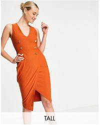 Vesper Tuxedo Midi Dress - Orange