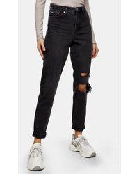 TOPSHOP – Mom-Jeans mit Rissen - Schwarz