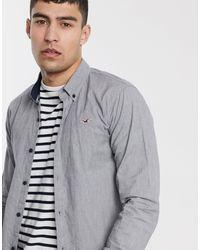 Hollister Icon Logo Slim Fit Button Down Oxford Shirt - Gray