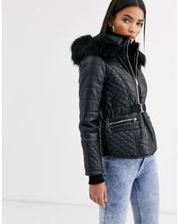 River Island Short Quilted Padded Jacket With Fur Hood - Black