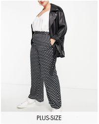 Simply Be Pantalon large en satin à pois - noir et blanc