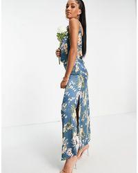 AX Paris Синее Цветочное Платье Макси На Бретелях Bridesmaid-многоцветный - Синий