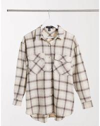 New Look Surchemise confortable oversize à carreaux brossés - Blanc