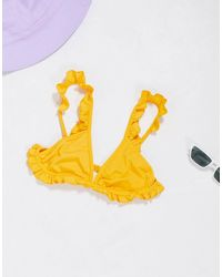 Miss Selfridge - Top bikini ocra con volant - Lyst