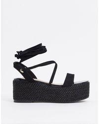 Miss Selfridge Chunky Flatform Sandals - Black