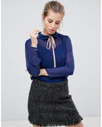 Traffic People - High Neck Blouse With Tie Front - Lyst