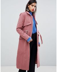 Y.A.S Manteau en laine avec ceinture - Rose