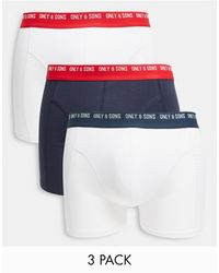 Only & Sons 3 Pack Trunks With Contrast Waistband - Blue