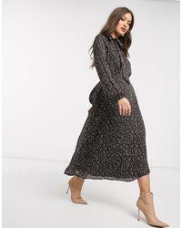Warehouse Midi Confetti Print Dress - Black