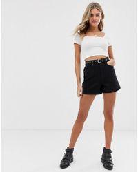 Pieces High Waisted Denim Shorts - Black
