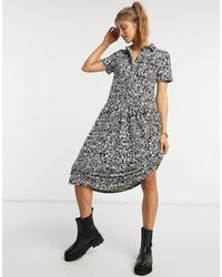 Warehouse Черное Платье-рубашка Миди С Цветочным Принтом -многоцветный