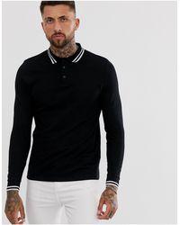 ASOS Long Sleeve Tipped Pique Polo Shirt - Black