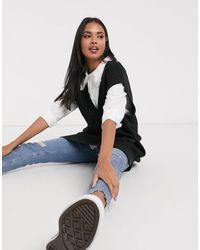 Monki Elise V Knitted Neck Vest - Black