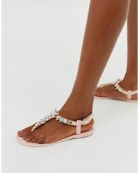 064f559d1b8d Park Lane Embellished Jelly Flat Sandals in Natural - Lyst