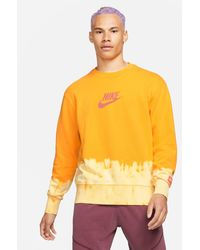 Nike Unity Swoosh Ombre Acid Wash Crew Neck Sweat - Yellow