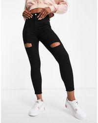 Naanaa Distressed Skinny Jeans - Black