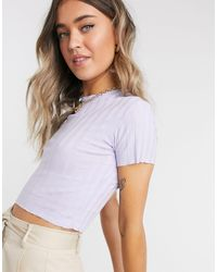 Pull&Bear Ribbed T Shirt - Purple