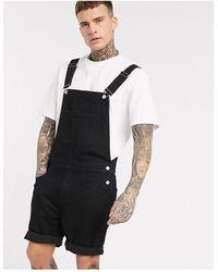 ASOS – Latz-Shorts aus schwarzem Denim
