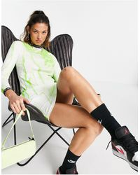 Aries Long Sleeve Dress With Logo Taping - Green