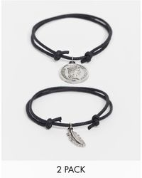 ASOS Woven Bracelet Pack With Feather Charm - Black
