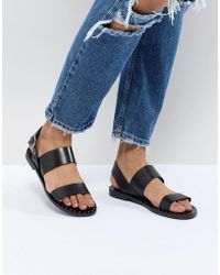 Pull&Bear - Double Strap Sandal With Ankle Buckle In Black - Lyst