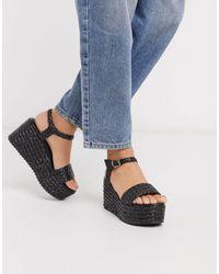 Dune Kasha - Chaussures en raphia tissé à semelles plateformes - Noir